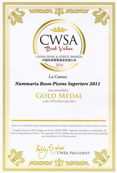 CWSA 2014 Gold Medal (Nummaria Rosso Piceno Superiore 2011)
